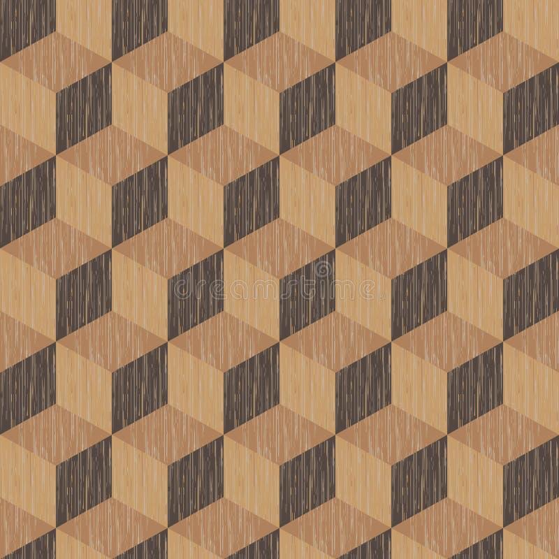 O fundo abstrato, teste padrão sem emenda de cubos isométricos, repetindo a textura de madeira, vector a ilustração Pode ser usad ilustração stock