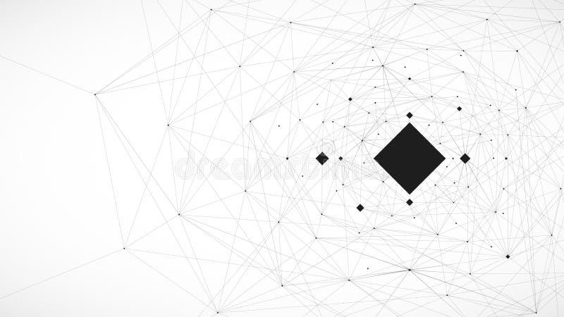 O fundo, as linhas e a conexão preto e branco vector a ilustração ilustração do vetor