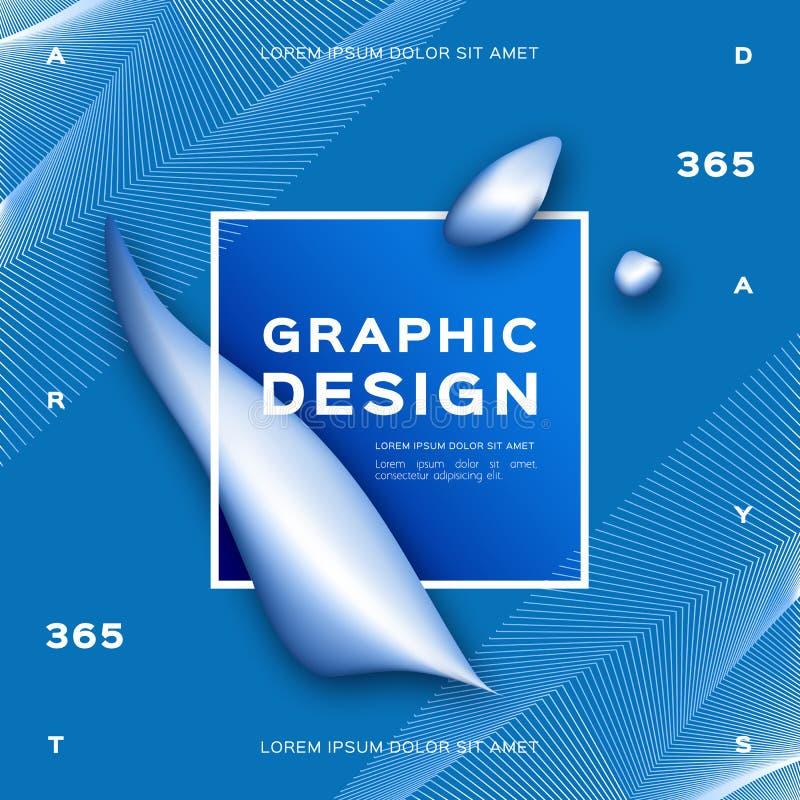 O fundo azul abstrato geométrico, líquido do inclinação dá forma ao fundo líquido Cartaz na moda do projeto gráfico Vetor ilustração stock