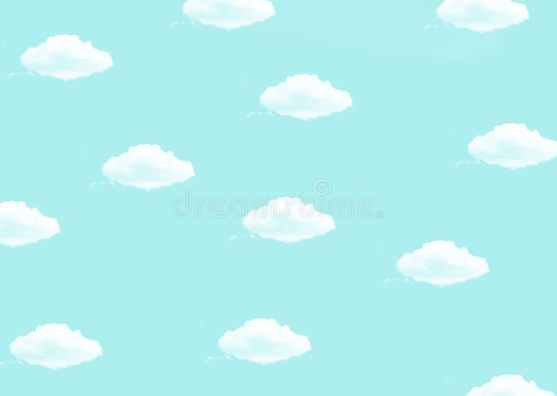 O fundo azul brilhante com as nuvens brancas imprime ilustração stock
