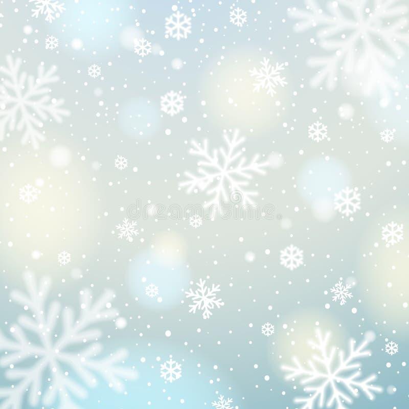 O fundo azul com branco borrou flocos de neve, vetor ilustração royalty free