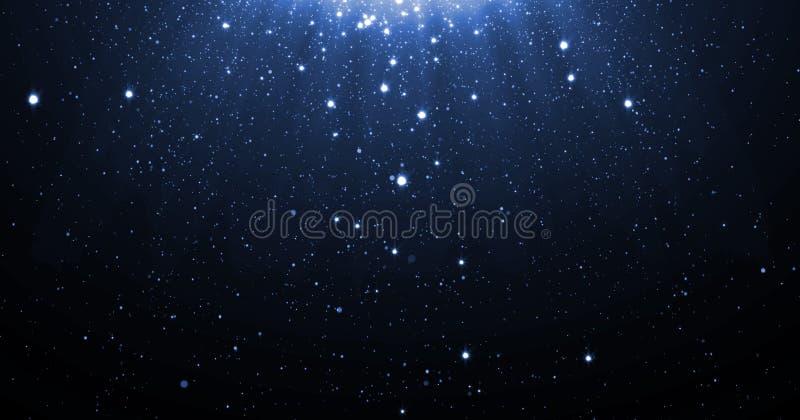 O fundo azul das partículas do brilho com as estrelas de néon de brilho que caem para baixo e alargamento claro ou brilho overlay fotografia de stock royalty free