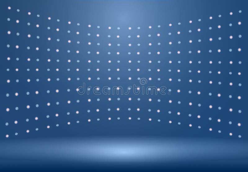 O fundo azul luxuoso da sala do estúdio com projetores jorra uso como B ilustração royalty free