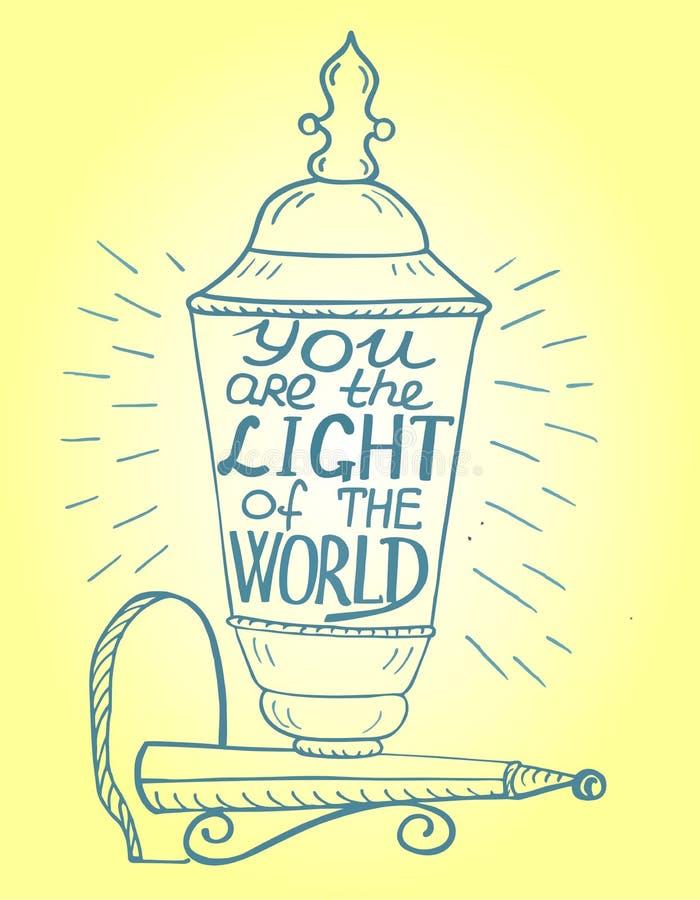 O fundo bíblico é escrito à mão você luz do mundo ilustração do vetor