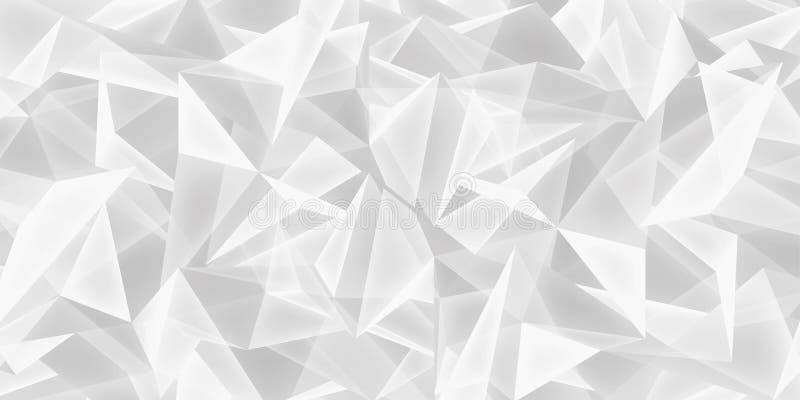 O fundo branco abstrato, textura de vidro dos cristais, muitos triângulos ilumina o papel de parede, projeto do vetor ilustração royalty free
