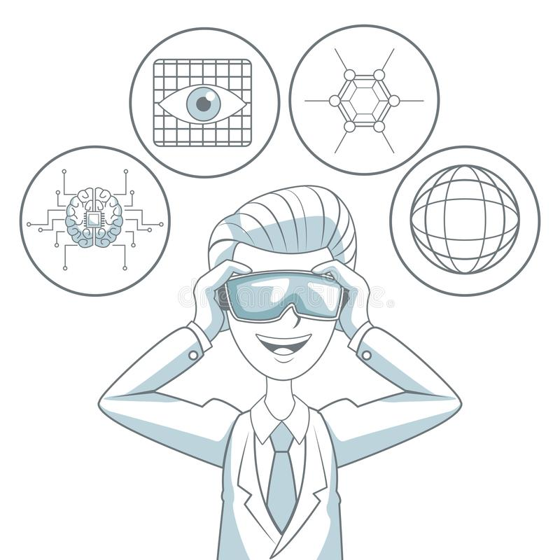 O fundo branco com cor da silhueta seciona a proteção do homem com os vidros da realidade virtual e os elementos do ícone futuris ilustração do vetor