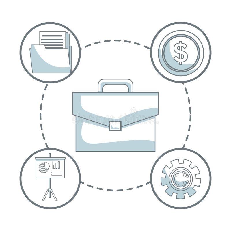 O fundo branco com cor da silhueta seciona a proteção do portfólio com desenvolvimento de negócios dos ícones ao redor ilustração royalty free