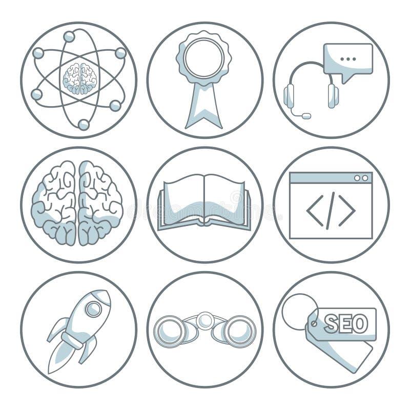 O fundo branco com cor da silhueta seciona a proteção do quadro circular do desenvolvimento de negócios dos ícones ilustração do vetor