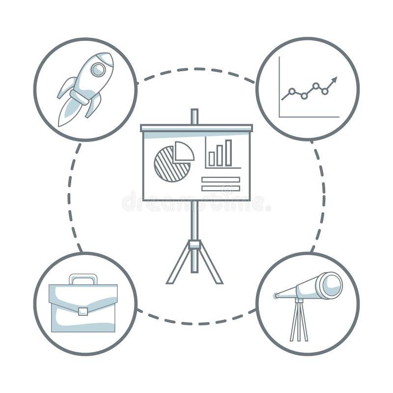 O fundo branco com cor da silhueta seciona a proteção da placa da apresentação com negócio das estatísticas e dos ícones ilustração do vetor