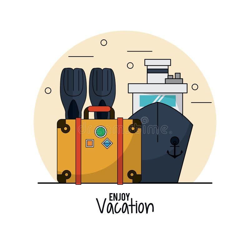 O fundo branco de aprecia férias com aletas e bagagem e cruzeiro ilustração do vetor