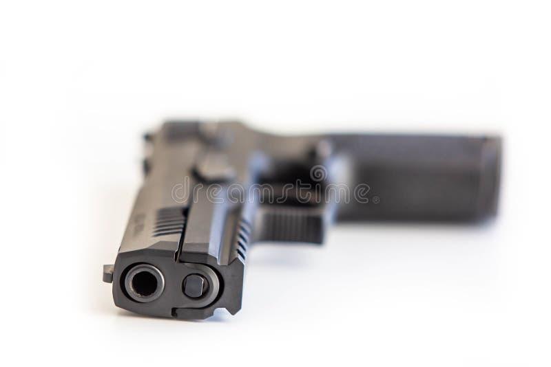 O fundo branco do revólver moderno isolou-se perto acima imagens de stock royalty free