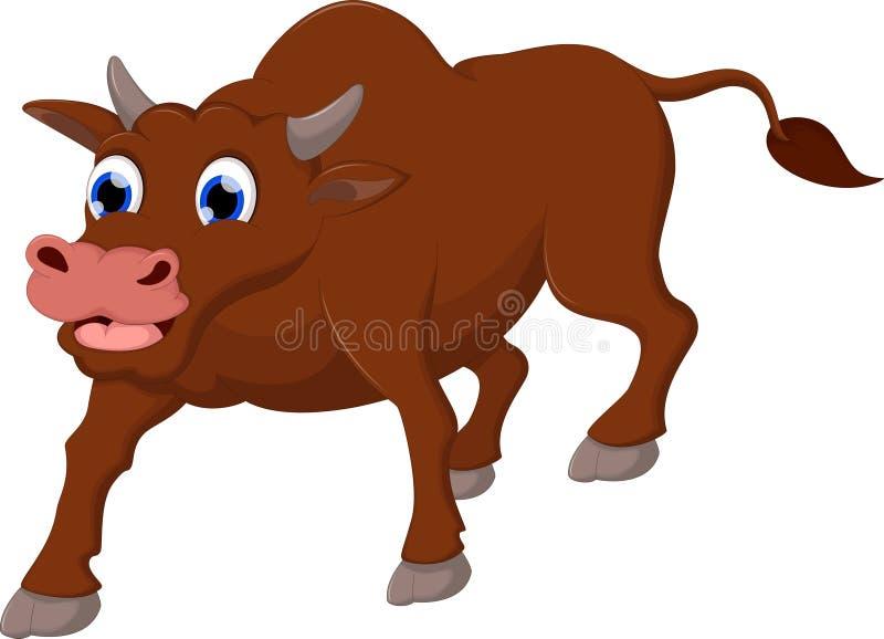 O fundo branco dos desenhos animados engraçados do sorriso da vaca para você projeta ilustração royalty free