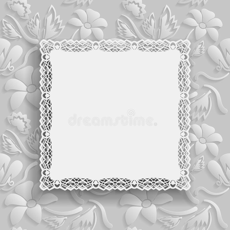 O fundo branco floral e o quadro bonito com uma beira do laço na borda no contexto branco para o cartão, podem ser usados como ilustração do vetor