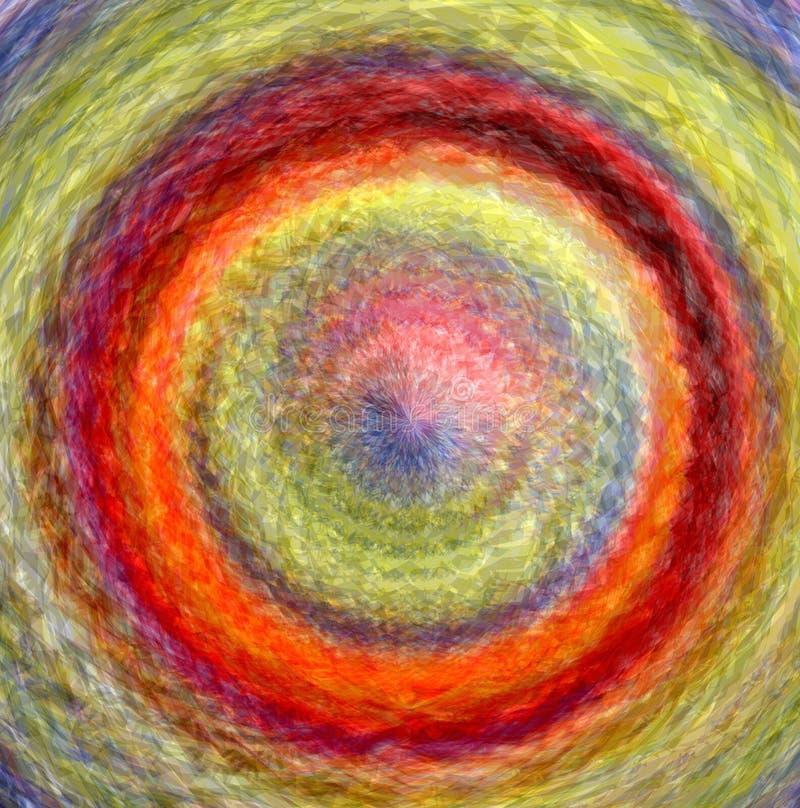 O fundo brilhante abstrato com arco-íris rodou círculos concêntricos ilustração do vetor