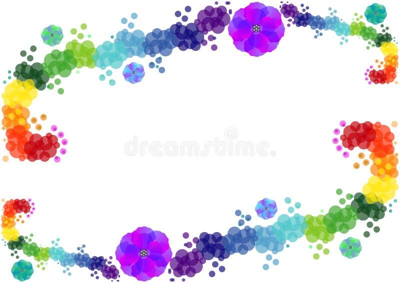 O fundo brilhante de círculos e de flores coloridos ilustração stock