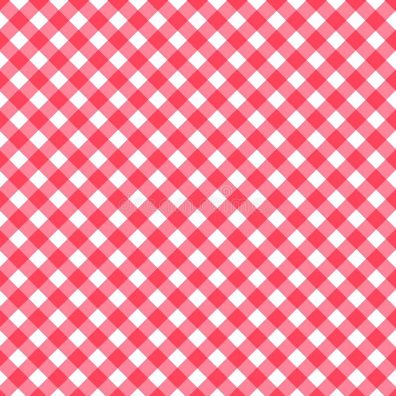 O fundo clássico sem emenda do teste padrão, sobreposição diagonal pastel vermelha listra toalhas de mesa dos quadrados vermelhos ilustração do vetor