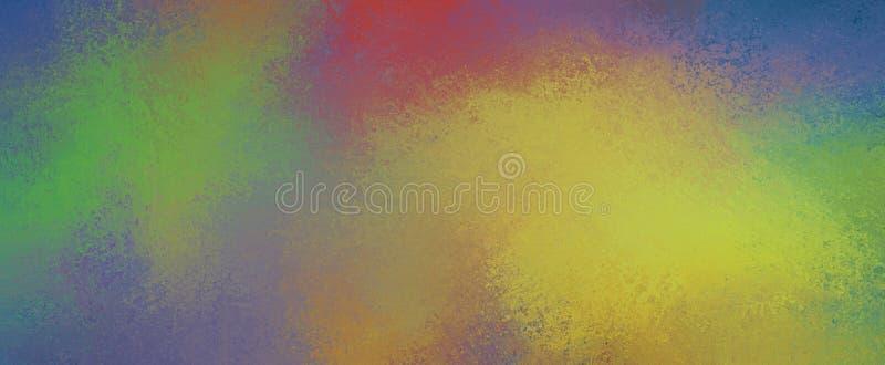 O fundo colorido abstrato com cor espirra da laranja e do azul amarelos vermelhos verdes com a textura e o grunge ilustração stock