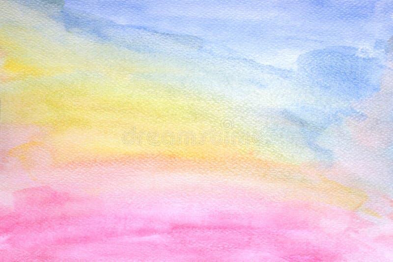 O fundo colorido abstrato da textura da aquarela, Brushed pintou a ilustração abstrata do fundo da aquarela, projeto e ilustração stock