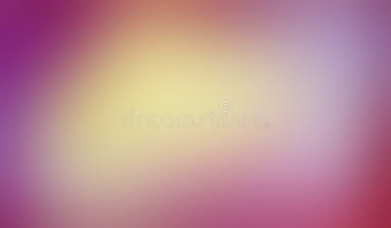 O fundo colorido com textura borrada lisa no delicado fresco misturou cores do ouro amarelo e do azul roxos cor-de-rosa na cor pa ilustração do vetor