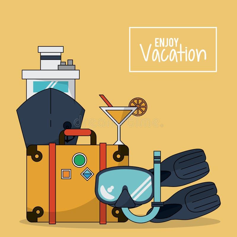 O fundo colorido de aprecia férias com bagagem e navio de cruzeiros e cocktail e mergulha e aletas ilustração do vetor