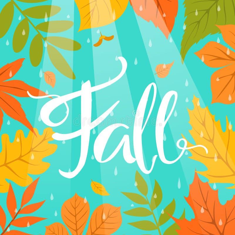 O fundo colorido do quadro da beira da queda do outono com parque sae de gotas e de feixes da chuva ilustração stock