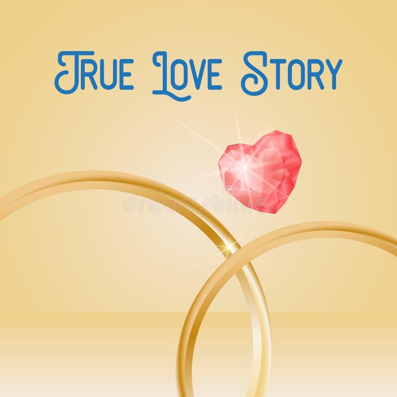 O fundo com anéis de ouro, coração do casamento deu forma à pedra preciosa, eps 10 Rotulação verdadeira de Love Story ilustração stock
