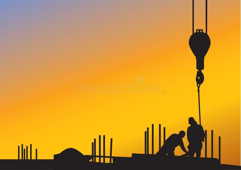 O fundo com trabalhadores da construção ilustração stock
