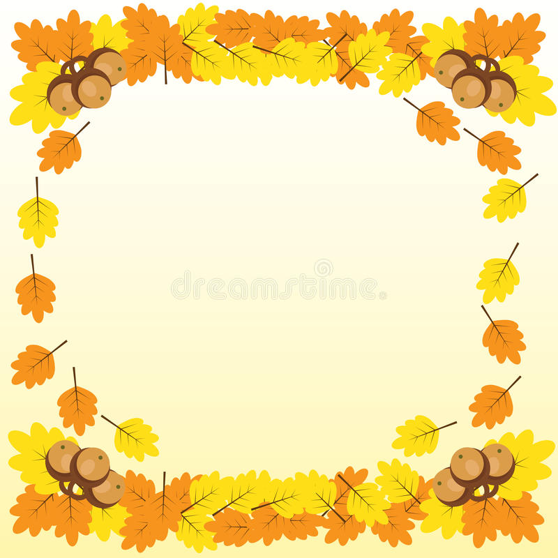 O fundo com uma beira do carvalho ramifica com folhas e bolota imagens de stock royalty free