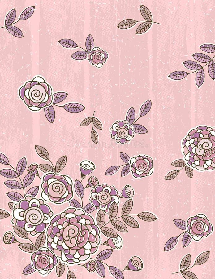 O fundo cor-de-rosa da tração da mão floresce, vetor ilustração royalty free