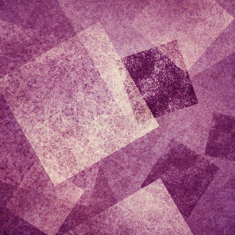 O fundo cor-de-rosa e roxo abstrato com diamante branco e as formas quadradas mergulhados na arte moderna contemporânea projeta ilustração do vetor