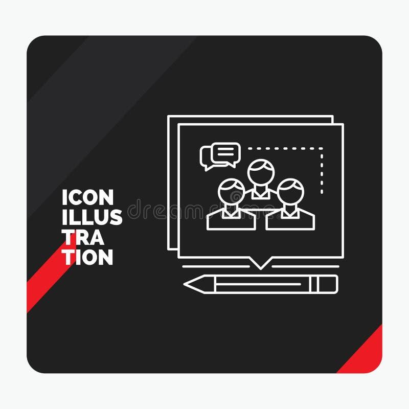 O fundo criativo vermelho e preto da apresentação para a análise, argumento, negócio, convence, debate a linha ícone ilustração stock
