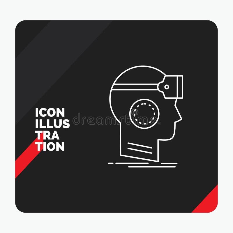 O fundo criativo vermelho e preto da apresentação para VR, googles, auriculares, realidade, linha virtual ícone ilustração stock