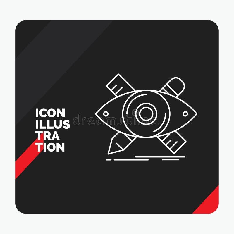 O fundo criativo vermelho e preto para o projeto, desenhista da apresentação, ilustração, esboço, ferramentas alinha o ícone ilustração stock