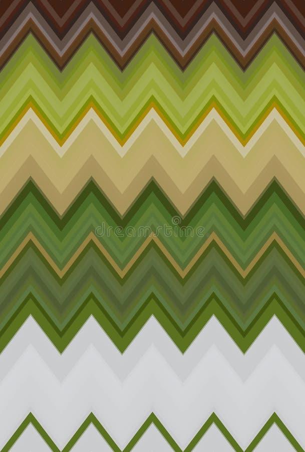 O fundo da arte abstrato do teste padrão da natureza da ecologia do verão do ziguezague de Chevron, cor tende Ilustração sem emen ilustração stock