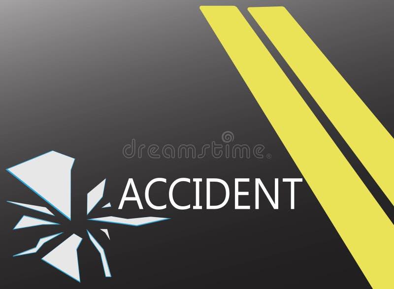 O fundo da estrada e o espelho quebrado, o conceito do acidente de viação ilustração royalty free