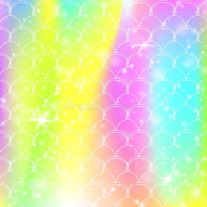 O fundo da sereia de Kawaii com arco-íris da princesa escala o teste padrão ilustração stock