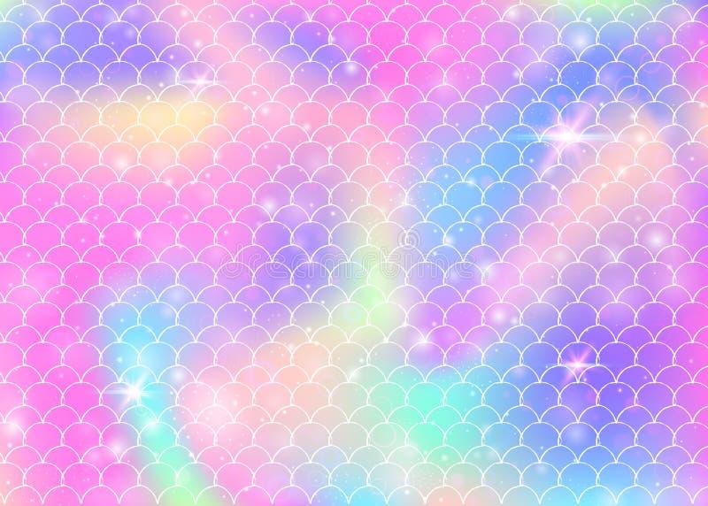 O fundo da sereia da princesa com arco-íris do kawaii escala o teste padrão ilustração stock