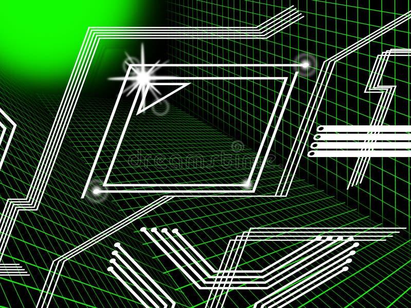 O fundo das linhas verdes significa rotas da tecnologia e dos dados ilustração do vetor