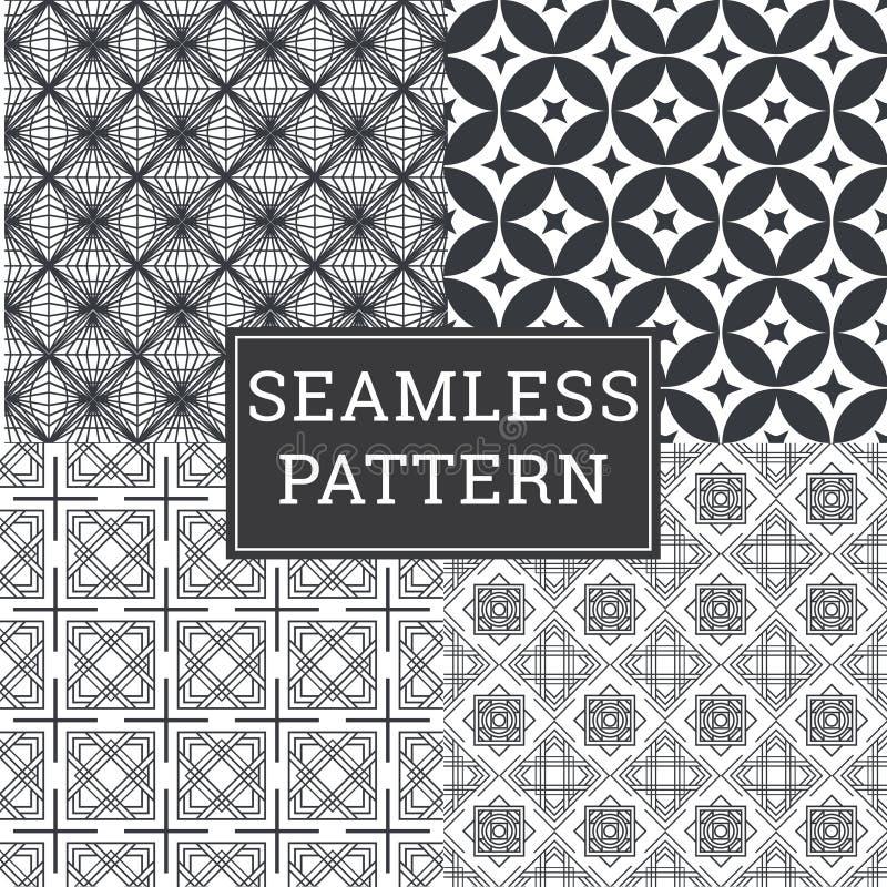 O fundo de Art Deco Seamless Pattern Decorative ajustou 4 em 1 ilustração do vetor