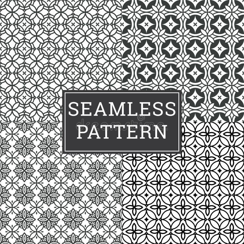O fundo de Art Deco Seamless Pattern Decorative ajustou 4 em 1 ilustração royalty free