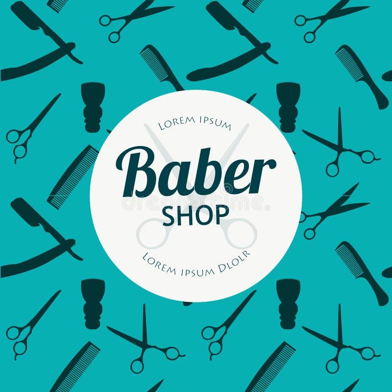 O fundo de Barber Shop ou do cabeleireiro ajustou-se com tesouras do cabeleireiro, escova de rapagem, lâmina, pente para o vetor  ilustração do vetor