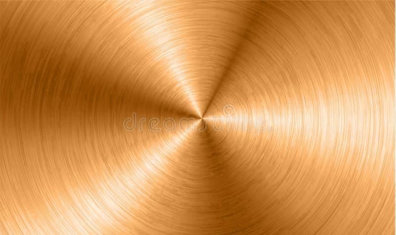O fundo de bronze do metal com circular realística escovou o cromo da textura, ferro, de aço inoxidável, prateia para as interfac ilustração do vetor