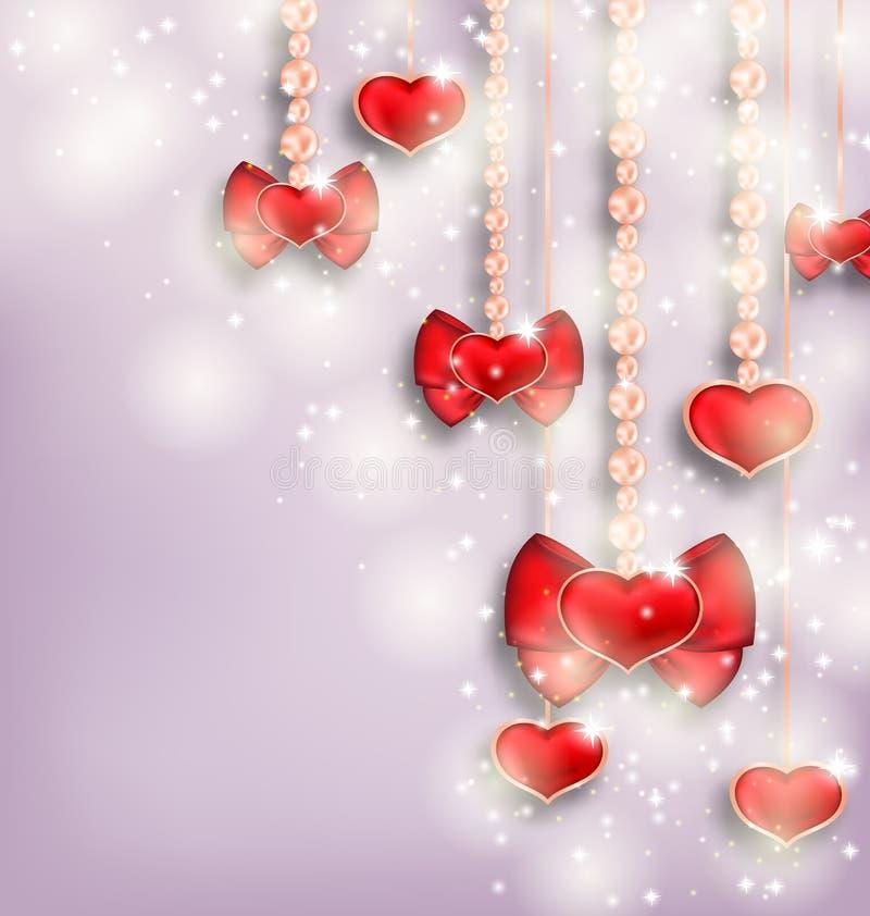 O fundo de incandescência com corações de suspensão para Valentine Day, copia s ilustração royalty free