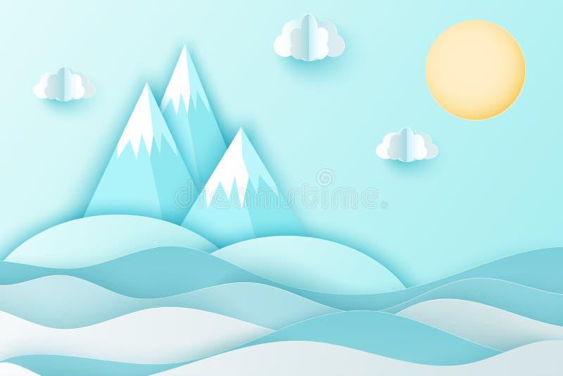 O fundo de papel moderno da arte com mar acena, nuvens, ilha ilustração stock