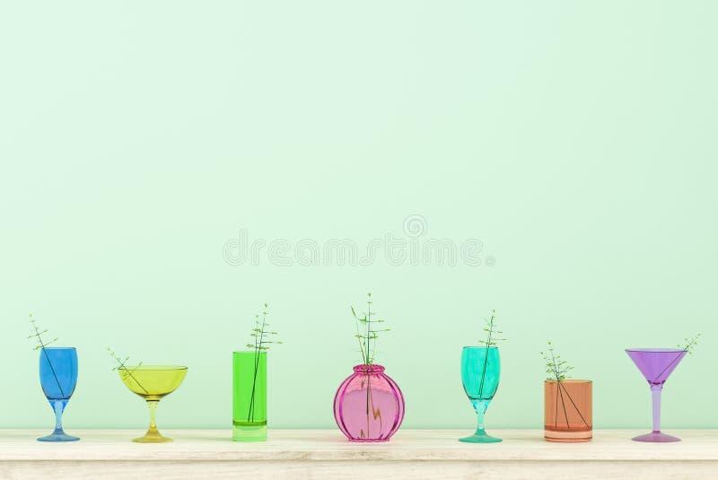 O fundo de vidro colorido no Natal e o ano novo party o dia ilustração stock