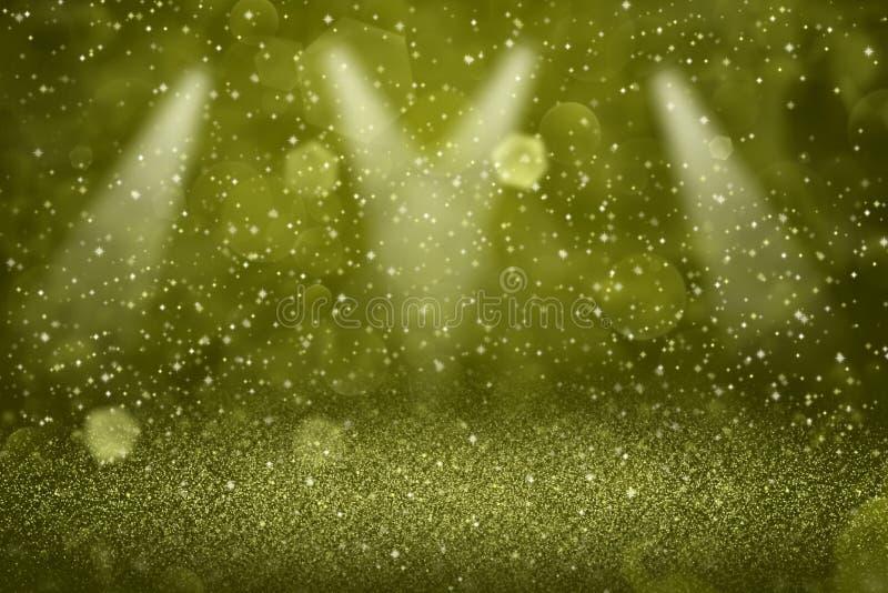 O fundo defocused do sumário do bokeh dos projetores da fase das luzes lustrosas bonitas amarelas do brilho com faíscas voa, text ilustração do vetor