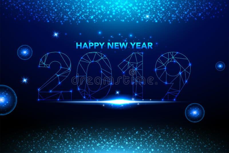 O fundo 2019 do ano novo feliz com confetes azuis do brilho chapinha Molde superior festivo do projeto para o cartão, calendário, ilustração royalty free