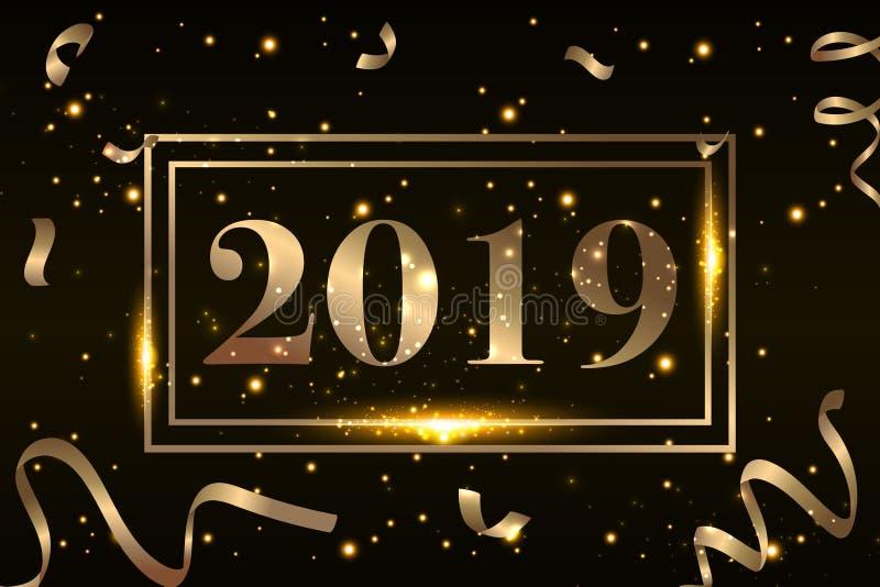 O fundo 2019 do ano novo feliz com confetes do brilho do ouro chapinha Molde superior festivo do projeto para o cartão, calendári ilustração stock