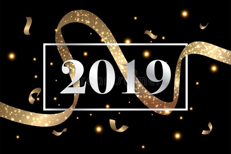 O fundo 2019 do ano novo feliz com confetes do brilho do ouro chapinha Molde superior festivo do projeto para o cartão, calendári ilustração royalty free