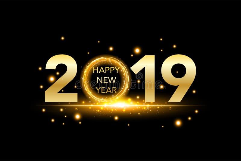 O fundo 2019 do ano novo feliz com confetes do brilho do ouro chapinha Molde superior festivo do projeto para o cartão, calendári ilustração do vetor